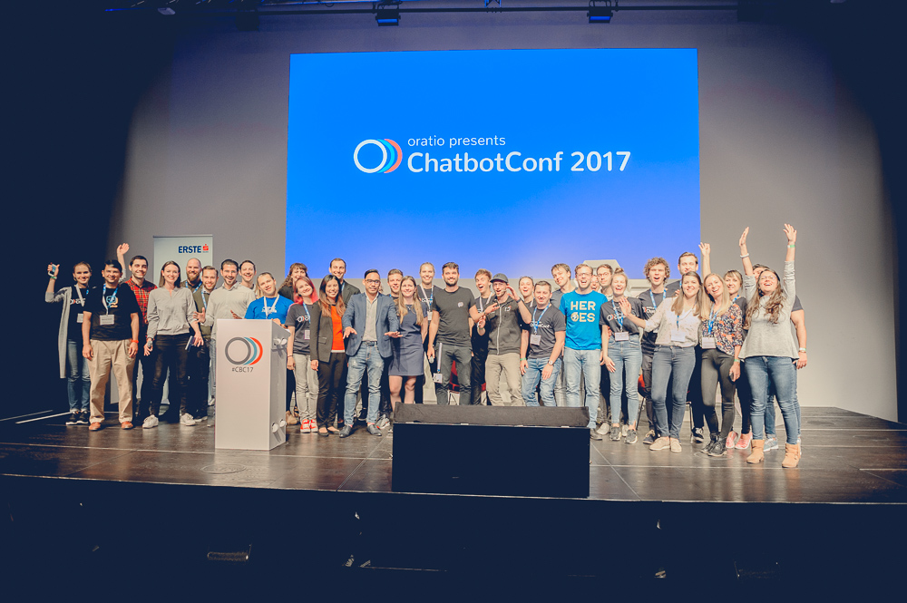 Team oratio, speakers and volunteers on stage at ChatbotConf 2017