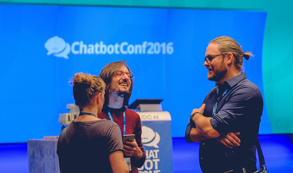 Mikhail Larionov (Facebook) and guests at ChatbotConf 2016